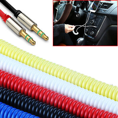 1m Coiled 3.5mm AUX Cable Mini Jack To Jack Male Audio Auxiliary Lead 6 Colours • 2.45£