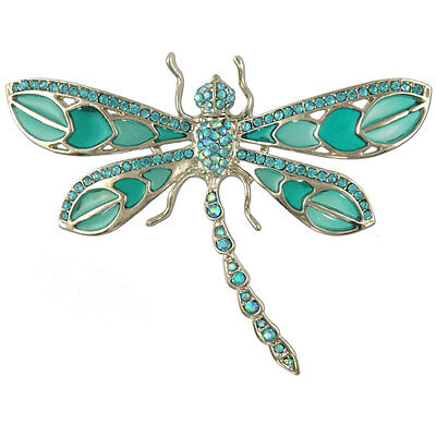£14.16 • Buy Rhodium Plated Crystal Dragonfly Brooch Made With Swarovski Elements