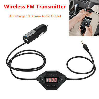 $26.28 • Buy Wireless FM Transmitter LED Display Car Kit With USB Charger &3.5mm Audio Output