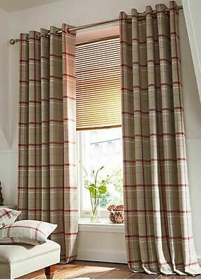 Woven Check Red Beige White Lined Ring Top Curtains *8 Sizes* • 64.99£