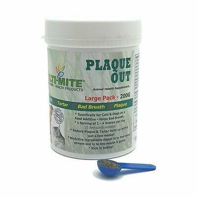 PLAQUE OUT®  Dogs And Cats 200G - Plaque Off Dogs Bad Breath And Tartar Removal • 7.95£
