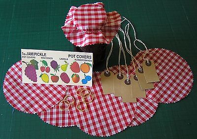 £3.95 • Buy 'red Gingham' Fabric Jam Jar Pot Covers, Pinked Edges, Labels, Bands Free Post