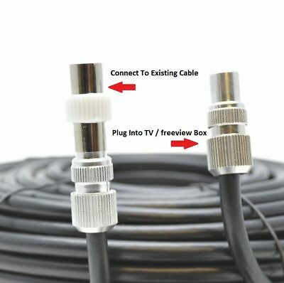 TV Ariel Lead Video Lead TV Lead, Aerial Coax Cable RF Lead RG6 7mm Black 1m • 2.49£