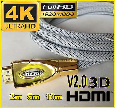 AU8.95 • Buy 4K Ultra HD Premium HDMI Cable V2.0 Gold Plated 3D High Speed Ethernet 1m ~ 20m