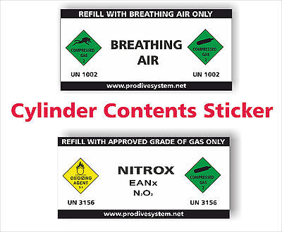 Cylinder Contents Sticker Compressed Gas Stickers Nitrox Breathing Air Vinyl  • 1.90£