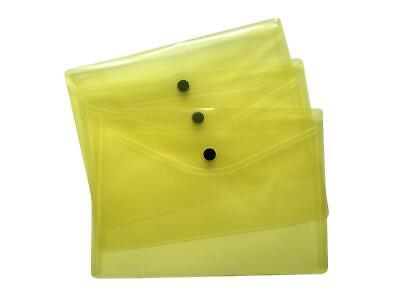 £4.69 • Buy Pack Of 12 A5 Yellow Document Wallets -Plastic Storage Folder Paper