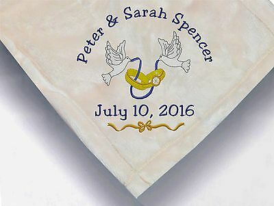 Personalized Monogrammed Throw Blanket W/ Embroidery Wedding Theme • 19.53£