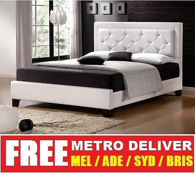 AU239 • Buy Lisa King Single Double Queen King Size White Pu Leather Bed Frame