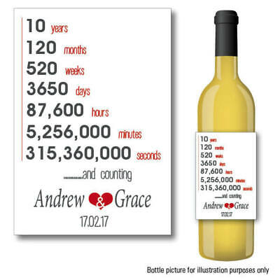 £2.89 • Buy Personalised 10 Year Wedding Anniversary Wine Prosecco Bottle Label 078
