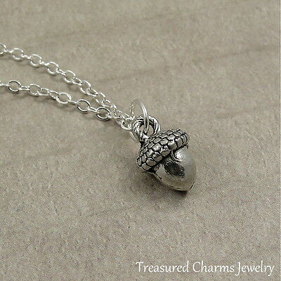 Silver Tiny Acorn Charm Necklace - Fall Nature Autumn Pendant Jewelry NEW • 14.95$
