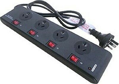 AU49.95 • Buy Power Board Surge Noise Filter Protector 4 Way Switched Outlet Black Powerboard