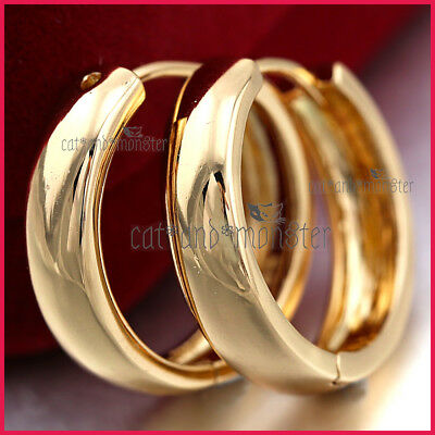 AU13.97 • Buy 9k Yellow Gold Gf Solid Ladies Girls Mens Plain Hoop Huggies Sleeper Earrings