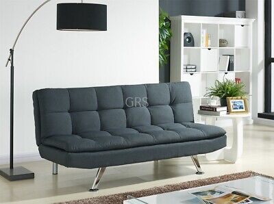 Padded Sofa Bed Fabric 3 Seater Padded Sofabed Suite Chrome Legs Cube Design New • 149.99£