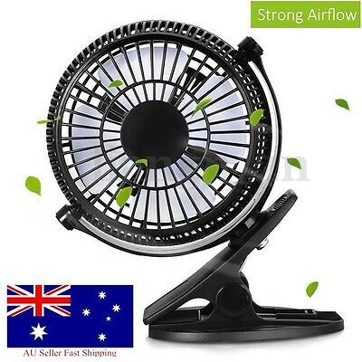 AU21.11 • Buy 7'' Clip On Fan 2 Speed Strong Airflow USB Hydroponics Office Student Desk Tent