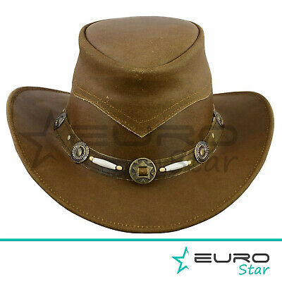 Leather Hats Cowboys Western Style Bush Hats Top Quality • 15.83£