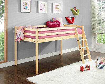 Kids Bunk Bed Mid Sleeper Wooden Pine Cabin Bed With Ladder • 119.99£