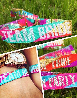 Team Bride (Multicoloured) Hen Do Wristbands - Bride Tribe - Hen Party Favours  • 1£