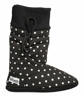 £21.70 • Buy Womens Grosby Hoodies Boots Black/Silver Spots Slippers - Size S M L Xl