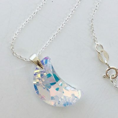 £14.50 • Buy Made With Swarovski® Crystals Necklace Pendant Moon Jewellery AB 925 Silver Gift