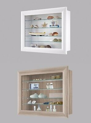 Bora10 Wall Mounted Glass & Wood Display Cabinet Shelving • 79.99£