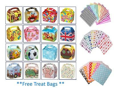 £3.99 • Buy 6 Party Boxes - Themed Character Loot Treat Box - Plus 6 FREE Paper Bags