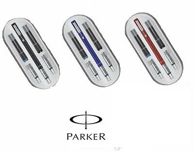 £11.99 • Buy Parker Vector Calligraphy CT Ink Fountain Pen Red Blue Black Body Gift Box New