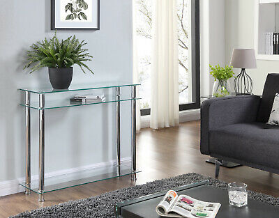 Black Or Clear Glass Chrome Console Table Large Hall Table Modern Furniture New • 68.99£