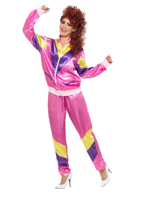 AU60.95 • Buy 80's 90's Height Of Fashion Pink Shell Suit Tracksuit Fancy Dress Costume