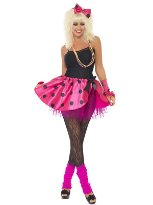 AU39.95 • Buy 80's Pink Polka Dot Tutu Instant Kit Headband Tutu Skirt Gloves Fancy Dress