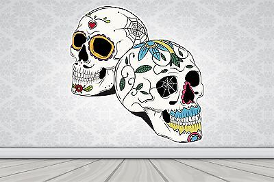 Wall Art Sticker Full Colour Sugar Skull - Day Of The Dead Poster Vinyl GA27-16 • 4.99£