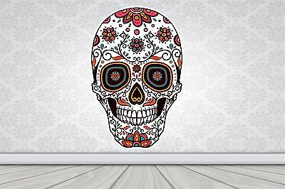 Wall Art Sticker Full Colour Sugar Skull - Day Of The Dead Poster Vinyl GA27-11 • 14.99£