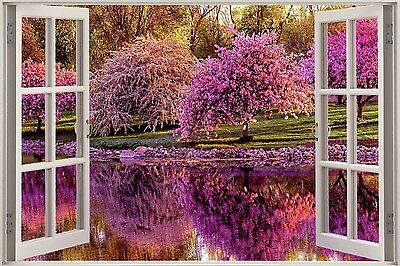 3D Effect Window View Blossom Trees Beautiful Sticker Wall Poster Vinyl GA1-160 • 13.99£