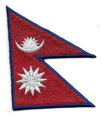 Embroidered Nepal Flag Iron On Sew On Patch Badge HIGH QUALITY APPLIQUE • 2.49£