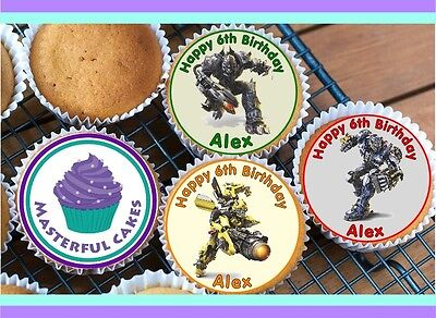 24 Personalised Transformers Design 2 Cupcake Topper Rice,wafer,icing & Precut  • 2.70£