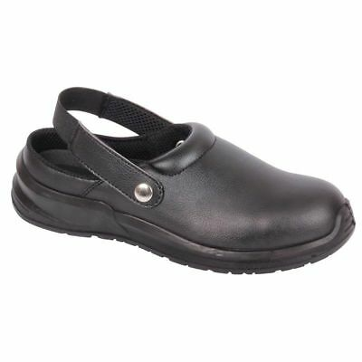 Nurses Medical Food Hygiene Catering Black Safety Work Clogs Shoes Steel Toe Cap • 25.95£
