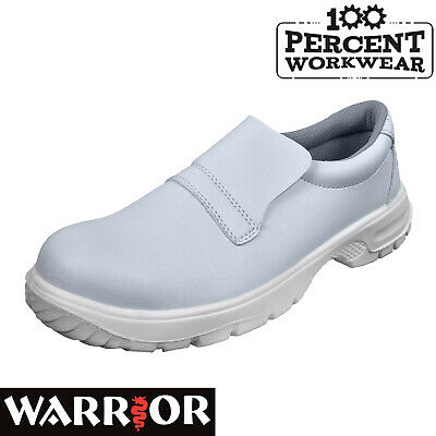 Nurses Medical White Slip On Microfibre Food Hygiene Safety Shoes Steel Toe Cap • 24.95£