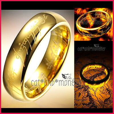 AU8.25 • Buy LORD OF THE RINGS HOBBIT GOLD PLATED Stainless Steel MENS BAND RING PENDANT GIFT