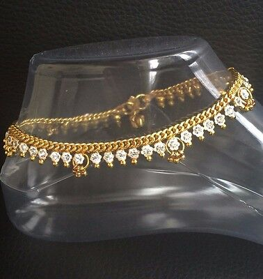 £6.99 • Buy Stunning Diamante Anklet Ankle Chain Indian Payal Bollywood Single Or Pair