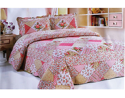 £19.96 • Buy Patchwork Quilted Bedspread Bedding Set Embroidered Throw Cover Double King Size