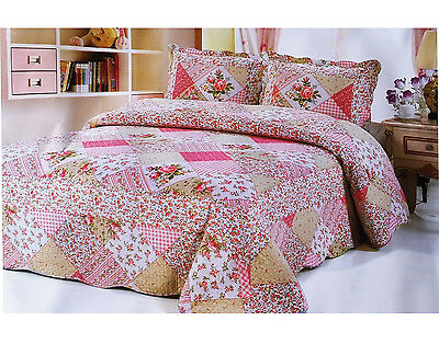 £19.99 • Buy 3Pcs Quilted Bedspread Throw Patchwork Set Comforter 2 Pillow Double King Size