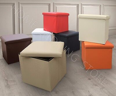 Single One Seater Ottoman Storage Box Foot Stool Foldable Leather Corduroy Linen • 10.95£