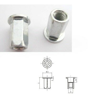 AU9.50 • Buy Qty 10 M6 Large Flange Hex Insert Zinc Plated Rivet Nut Nutsert Hexsert Nuts