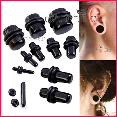 AU5.99 • Buy Black Ear Round Expander Stretcher Tunnel Set Kit Solid Flesh Taper Plug Earring