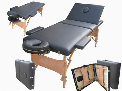 Massage Table Bed Black Therapy Beauty 3 Way Adjustable Couch Salon Portable • 67.99£