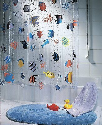£13.09 • Buy QUALITY Transparent Fish Clear Plastic Shower Curtain, 180 X 200 Cm, Blue/ Green