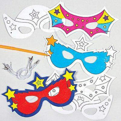 £11.83 • Buy Super Hero Colour-in Card Masks 3 Assorted Designs For Children To Paint & And 6