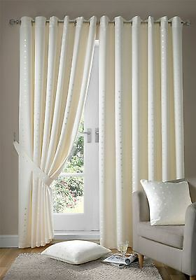 Jacquard Check Cream Lined Ring Top Eyelet Curtains Drapes *6 Sizes* • 39.99£