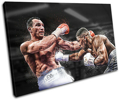 Boxing Anthony Joshua Klitschko Sports SINGLE CANVAS WALL ART Picture Print • 24.99£
