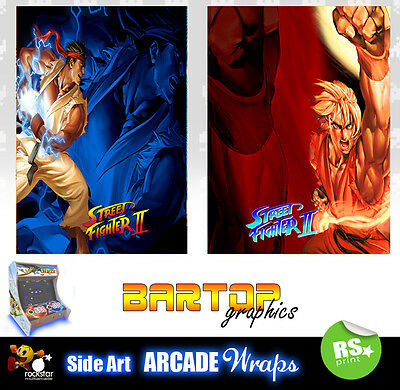 Street Fighter 2 Sides Arcade Artwork Bartop Sides Overlay Graphic Stickers • 32.67£