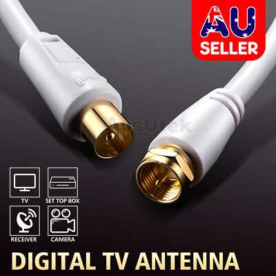 AU6.95 • Buy 1.8M 3M 5M 10M TV Antenna Cable PAL Male To F-Type Flylead Aerial Cord Coax Lead
